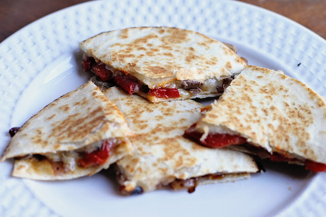 Roasted Red Pepper & Portabella Mushroom Quesadillas