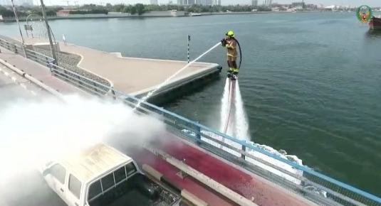 Dubai Civil Defence launches service that allows firefighters to use water jetpacks