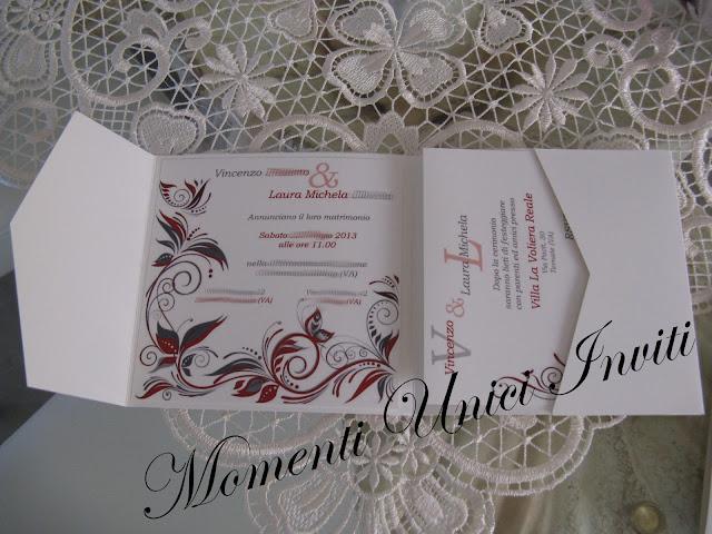 IMG_5146 Partecipazione Pocket in cartoncino perlescente tonalità grigio e rossoColore Grigio Colore Rosso Partecipazioni Pocket