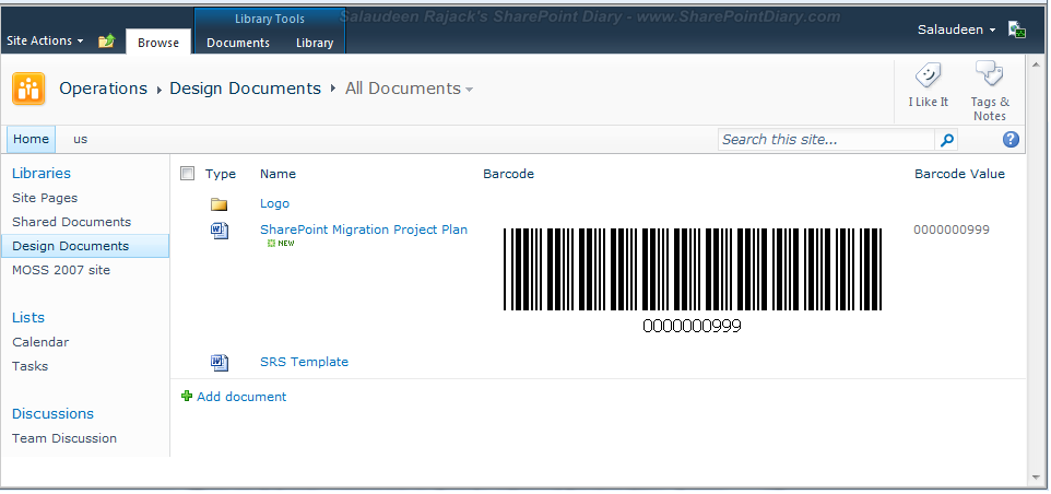 sharepoint 2010 barcode value