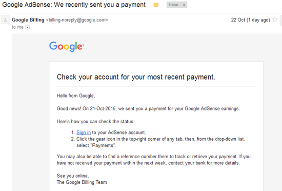 Google Adsense: We Recently Sent You A Payment