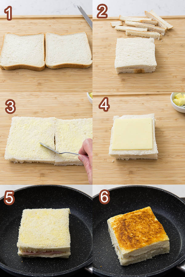 火腿芝士三文治 製作圖 Ham & Cheese Sandwiches Procedures