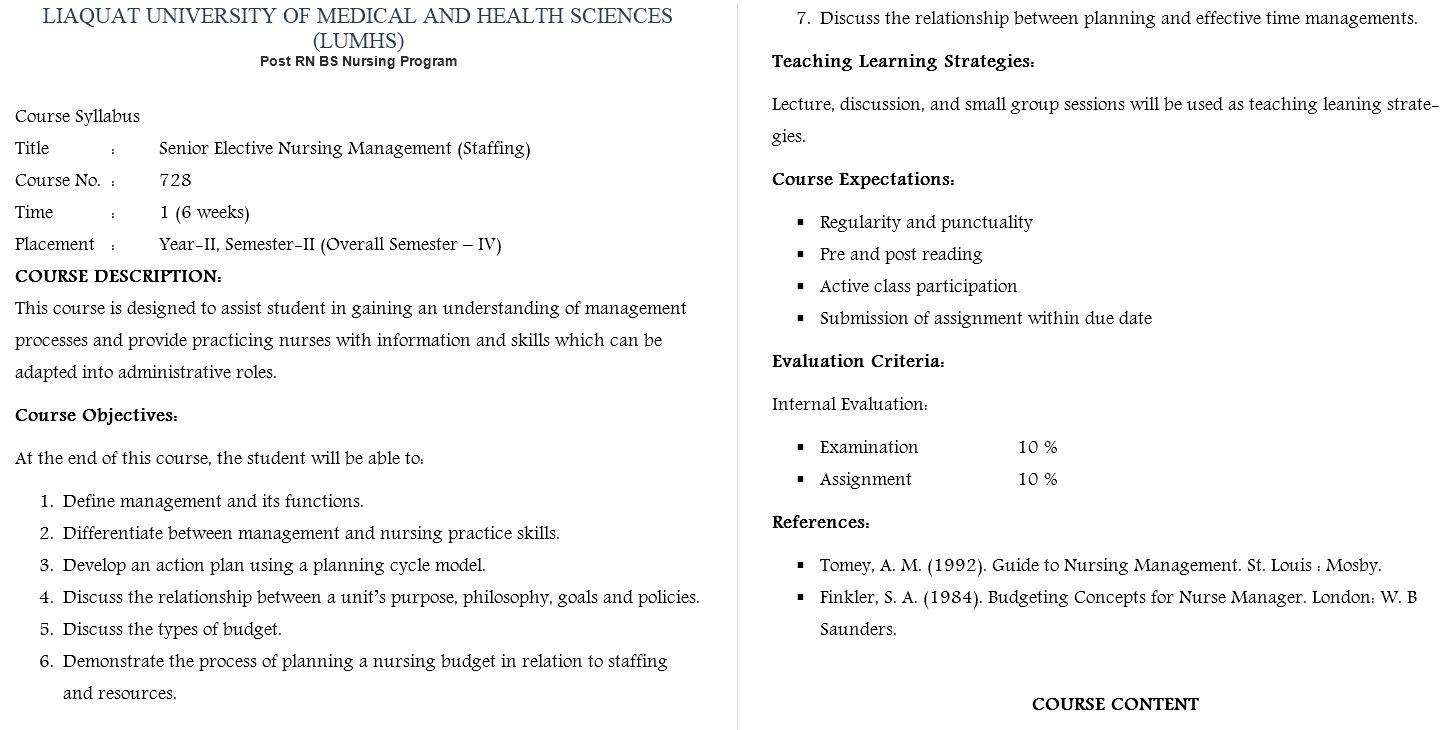 Course Syllabus - LUMHS Post RN BSN Staffing