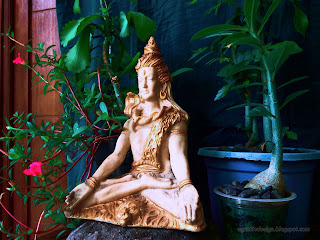 Right View Lord Shiva Mini Statue On The Stone With Tiny Decorative Flower Plants In The Room