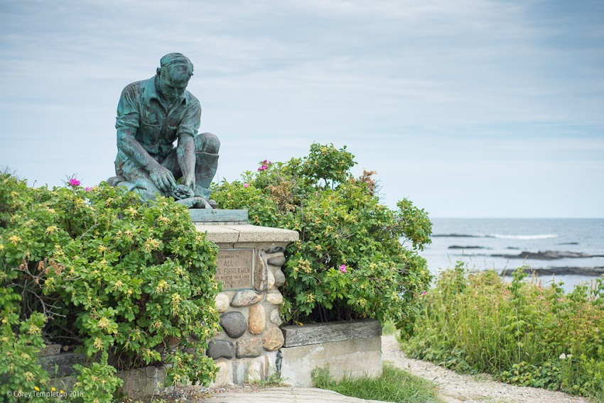 Bailey Island in Harpswell, Maine USA photo by Corey Templeton, July 2018. Maine Lobsterman statue of Victor Kahill copy near the ocean.