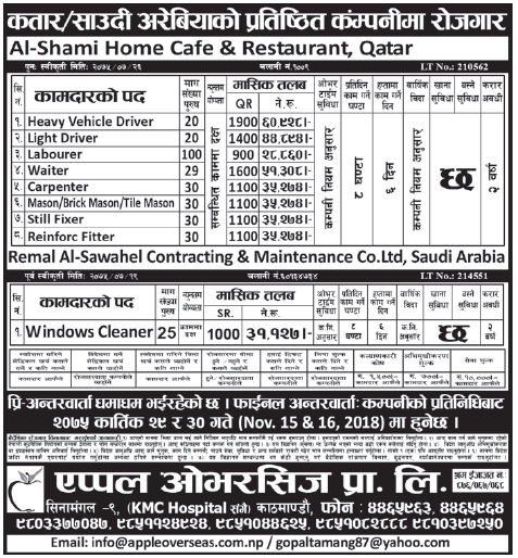 Jobs in Qatar for Nepali, Salary Rs 60,928