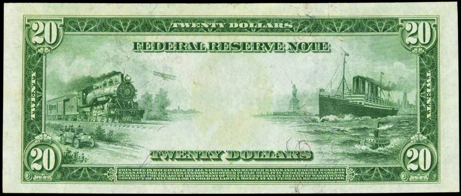 Large size US paper money currency large size paper money twenty dollar bill 1914