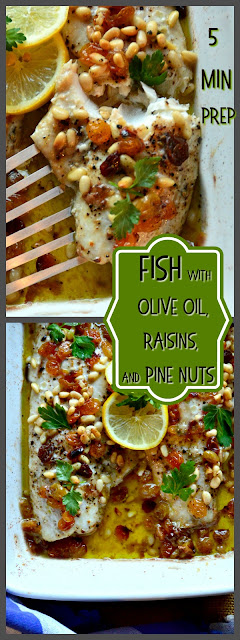 This red snapper fillet is baked in a bed of olive oil and topped with pine nuts, raisins and a sprinkle of black pepper. Ready to go into the oven in 5 minutes, which leaves time to make rice and salad!  #fish #seafood #quickmeals www.thisishowicook.com