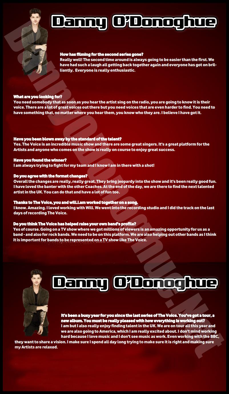 Danny O'Donoghue net: Danny O'Donoghue Interview For Media