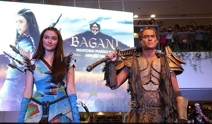 Leading stars of 'Bagani' Enrique Gil and Liza Soberano in their mall tour in Makati.
