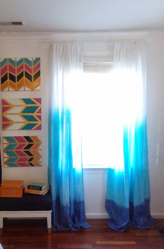 DIP DYE OMBRE AQUA AND NAVY CURTAINS