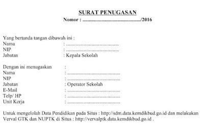 Download Contoh Surat Penugasan Untuk Verval Calon Penerima NUPTK Tahun 2016