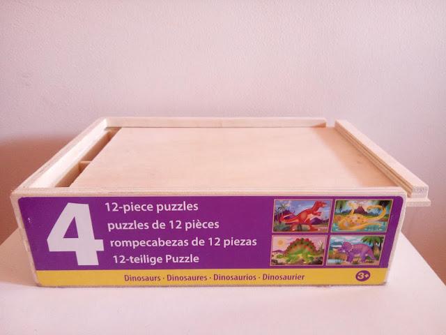 4 puzles de madera de 12 piezas de dinosaurios