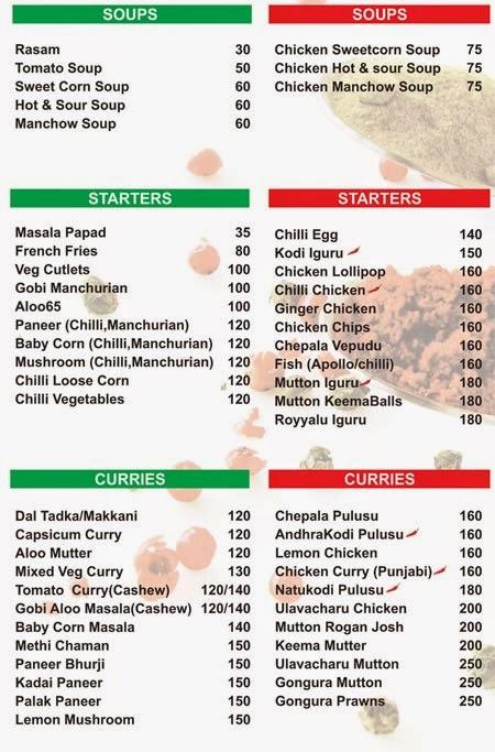 Turmeric Andhra Delicacies Menu Card Turmeric Andhra Delicacies