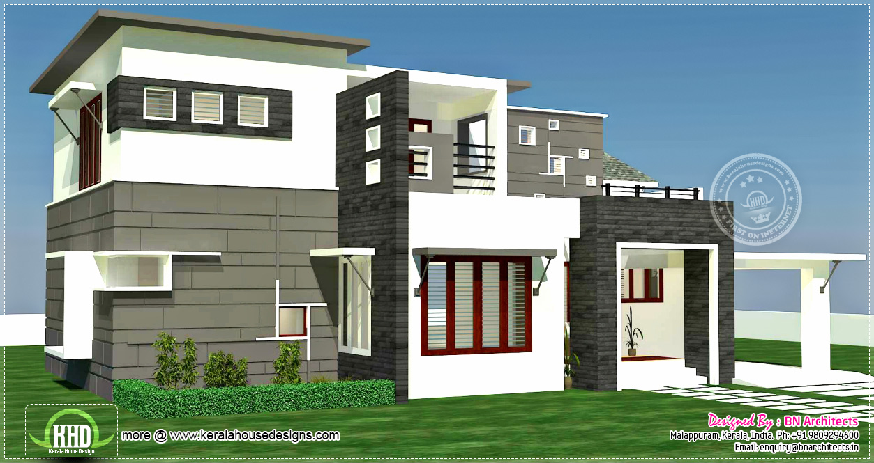 3 bhk 2300 contemporary house exterior kerala for Front exterior home design photo gallery