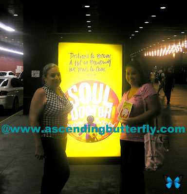 Team Butterfly holding up signed Soul Doctor Playbill in front of Circle in the Square Theatre in New York City