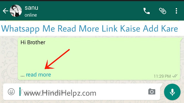 whatsapp me read more link kaise add kare.