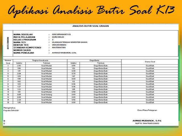 Aplikasi Analisis Butir Soal Uraian Kurikulum 2013 Plus KTSP SD,SMP,SMA