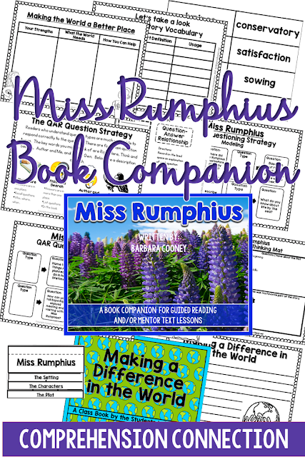 This book companion for Miss Rumphius features Question Answer Relationship, Story Elements, Vocabulary and Reading Response Options as well as Writing Extensions. Check out this post for more information
