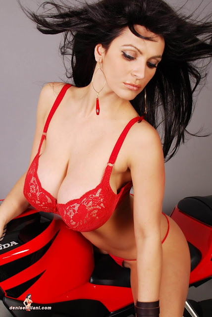 Denise-Milani-Bike-Photoshoot-in-red-hot-bikini-picture-13
