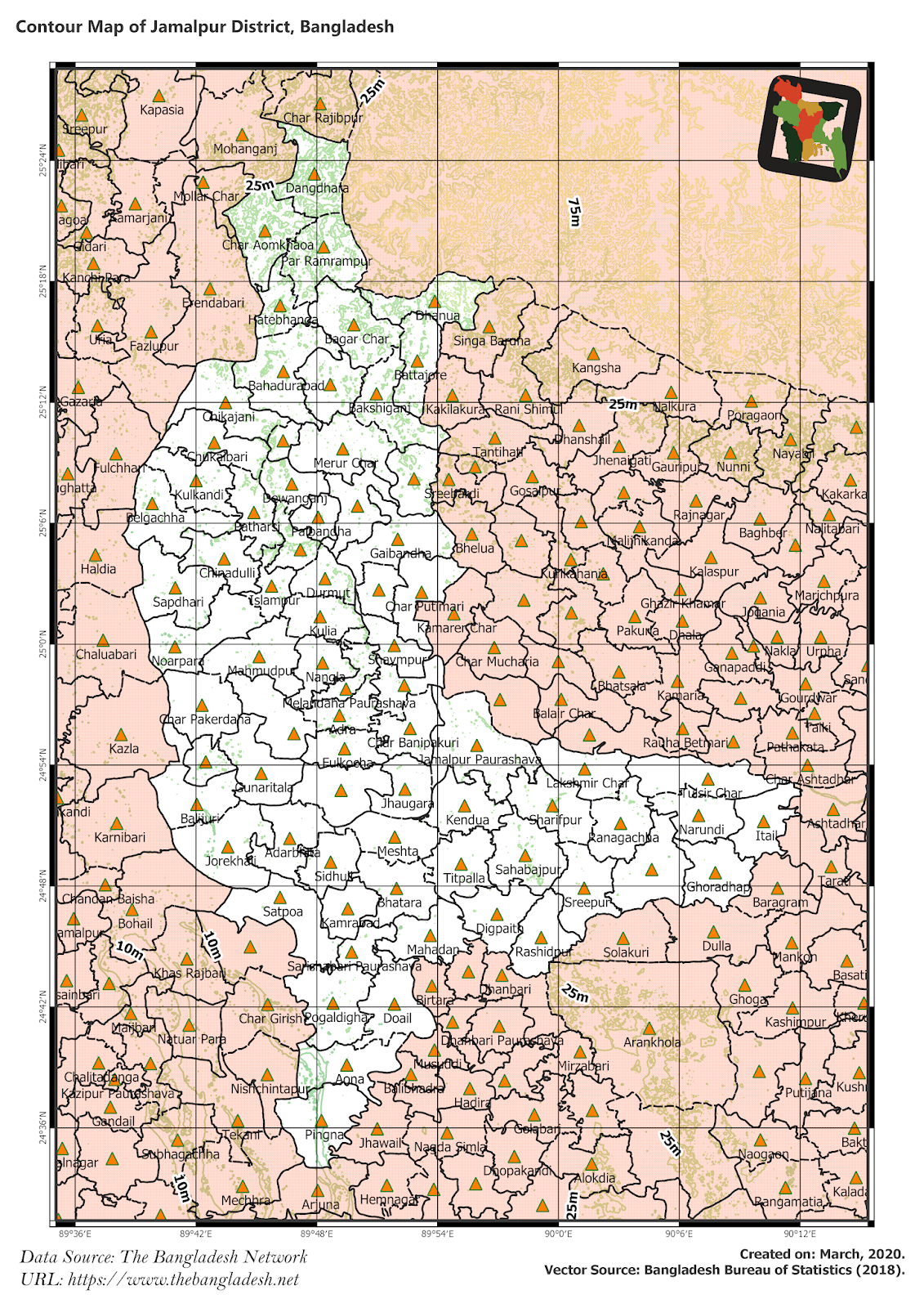 Elevation Map of Jamalpur District of Bangladesh