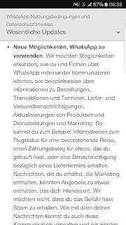 Screenshot WhatsApp Nutzungsbedingungen und Datenschutzrichtlinie Wesentliche Updates II