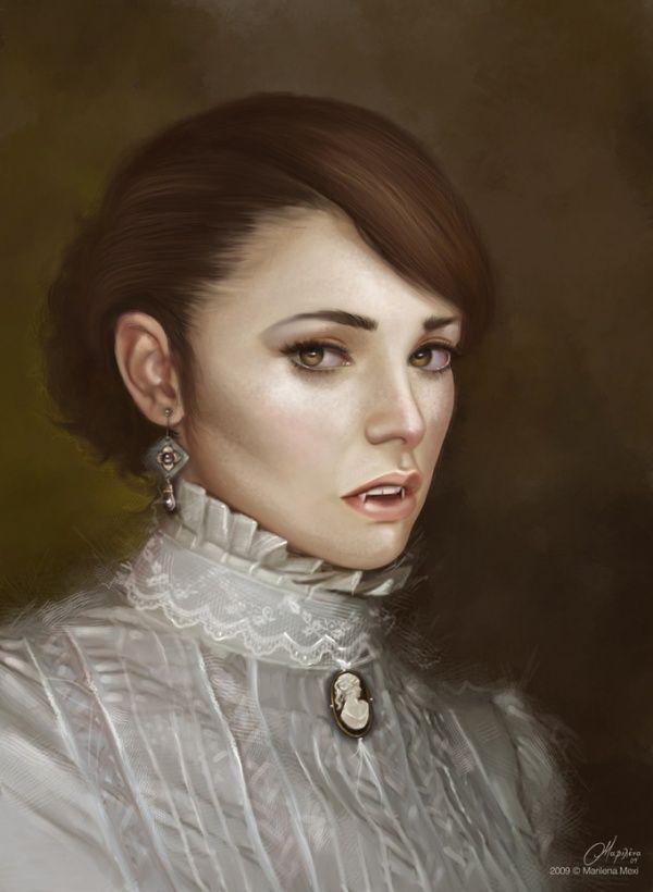 retrato e mujer antigua con colmillos de drácula
