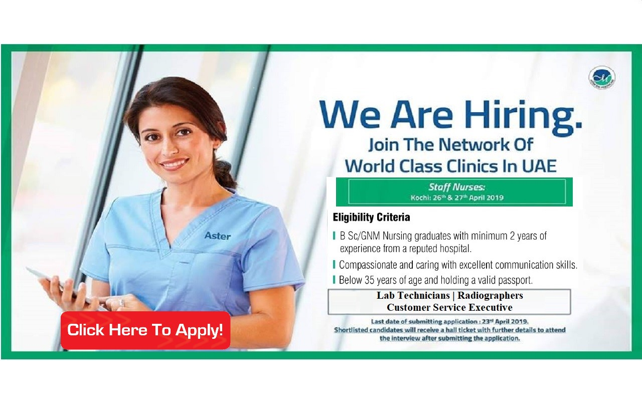 Aster DM Health Care, UAE Staff Nurse Recruitment 2019 - Interview In Kochi