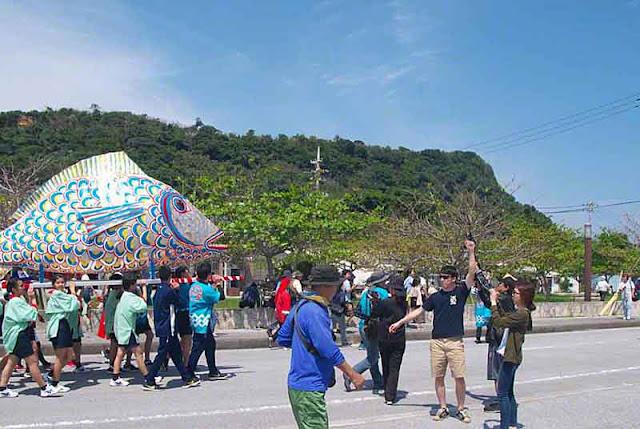 parade, procession, fish, portable shrine, Sanguacha, Okinawa