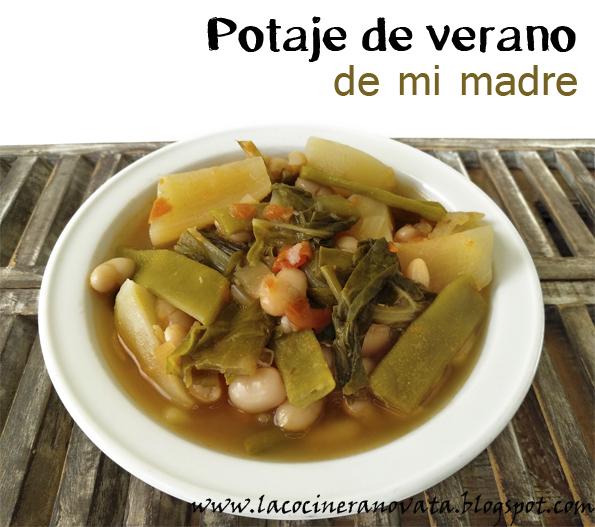 Potaje de verano de mi madre la cocinera novata judias blancas alubias verduras cocina receta vegano vegetariano legumbre guiso pobres barata economica mama
