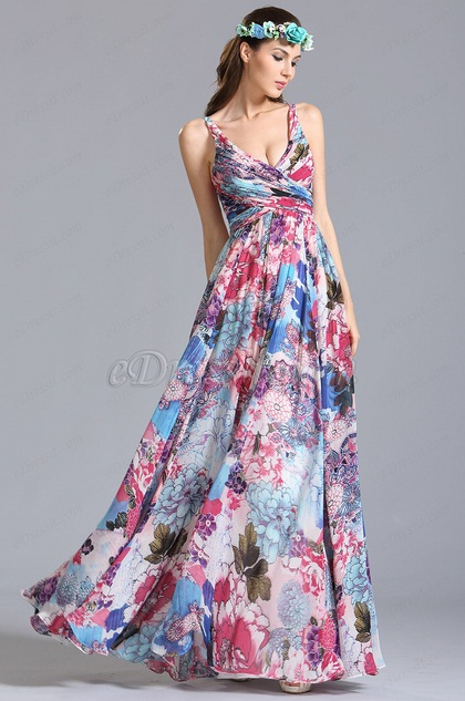 eDressit Plunging Sleeveless Printed Dress Floral Dress