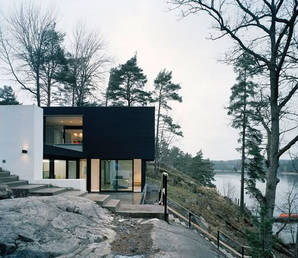 architecture sweden homes swedish modern hillside lake plans contemporary views designs stockholm cottage slope hill minimalist steep traditional building luxury