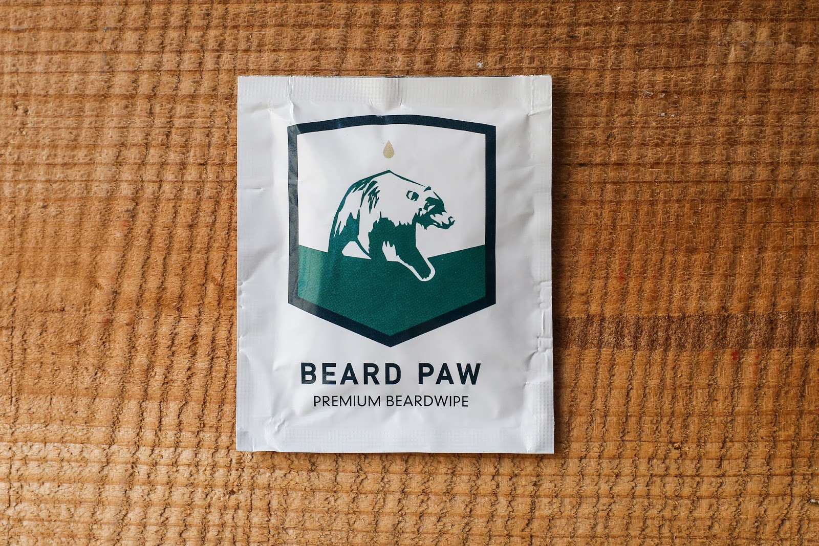 A sachet of Beard Paw wipes