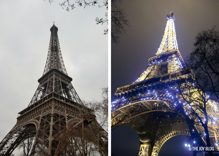 Eiffel Tower in day and night | That One Time I Went to Paris // WWW.THEJOYBLOG.NET