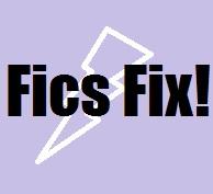fics fix title image with white lightning bolt on purple background