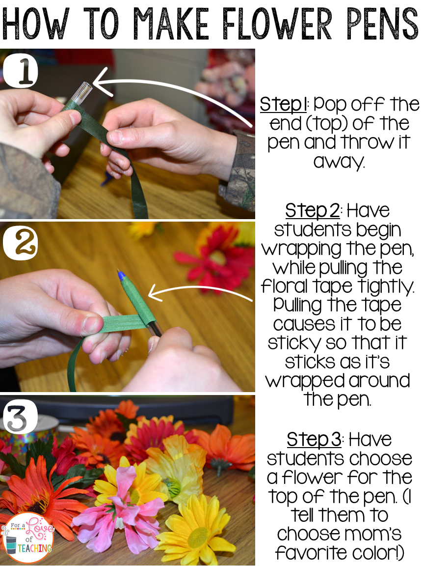 How to Make a Mother's Day Flower Pen Craft for Teachers