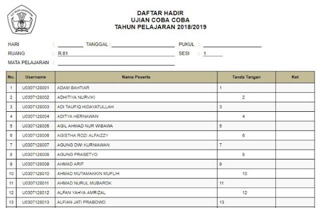 Contoh Daftar Hadir CBT AIO