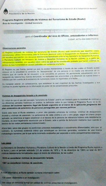 Según un informe que difundió ayer la Secretaría de Derechos Humanos , a cargo de Claudio Avruj , desde 1973 hasta 1983, desaparecieron en nuestro país 7010 personas. El dato surge de una investigación que desarrolló el equipo de trabajo del Registro Unificado de Víctimas de Terrorismo de Estado (Ruvte)