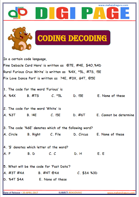 DP | CODING DECODING | 20 - APR - 17 | IMPORTANT FOR SBI PO