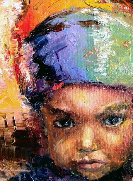 Painting Lake Rasta Child Portrait - Sold