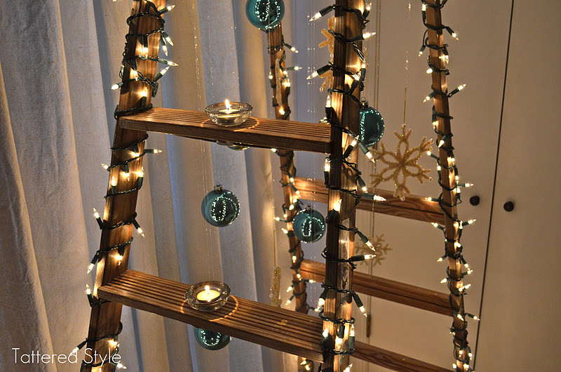 Ladder Christmas Tree.Tattered Style Ladder Christmas Tree