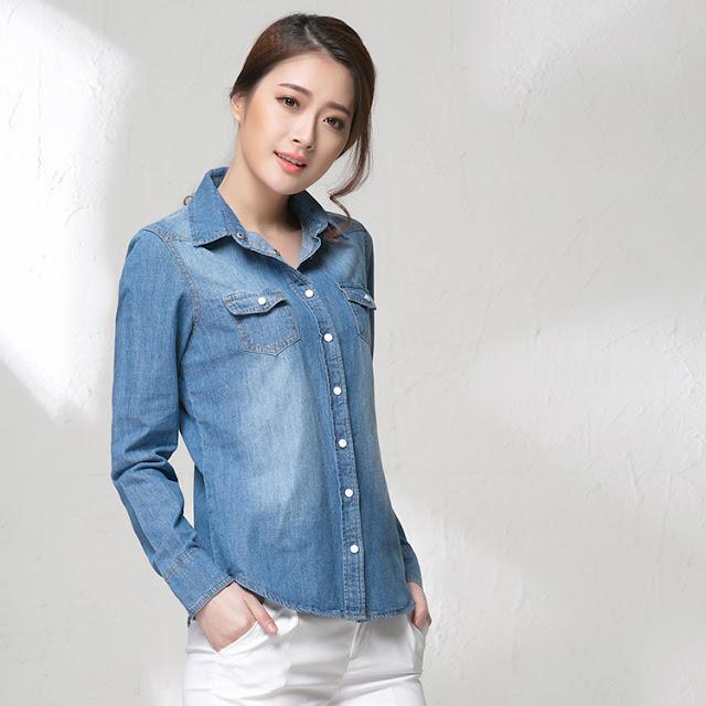 Model Baju Kemeja Jeans Lengan Panjang Wanita Korea