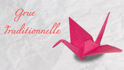 Photo de grue traditionnelle en origami, tutoriel vidéo, diagrame