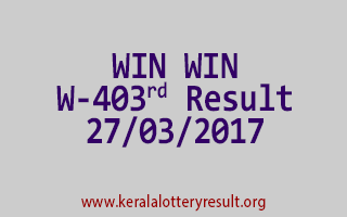 WIN WIN Lottery W 403 Results 27-3-2017