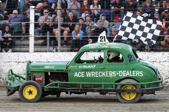 Car no 21, winner of this heat, Golden Oldies Stocks - Meeanee Speedway, Meeanee, Napier. photograph