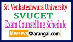 Sri Venkateshwara University SVUCET Exam Counselling Schedule
