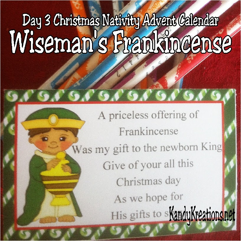 Celebrate the Christ child this Christmas with a sweet nativity advent calendar to give to those you love this holiday.  Day four is the Christmas wise man who shares his gift of frankincense and the hope of Christ's gifts.