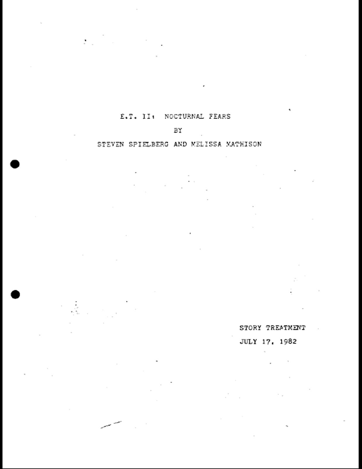Read The Leaked E T Sequel Script Here E T Ii Nocturnal Fears