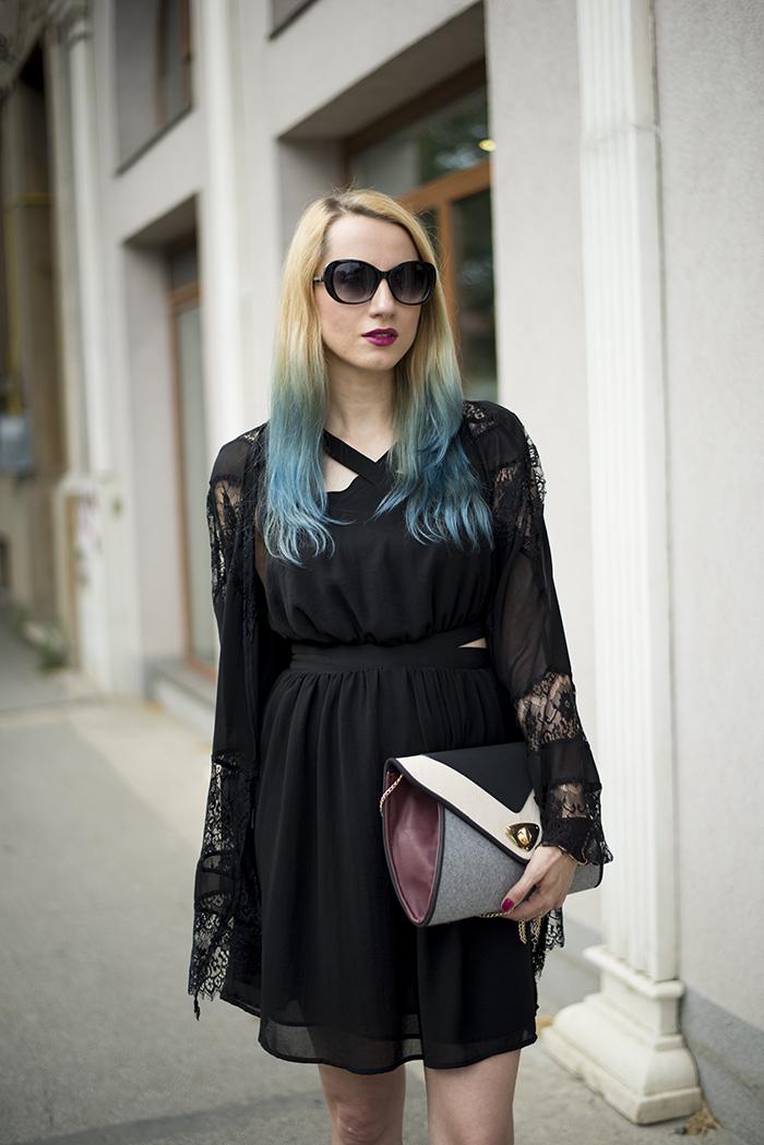 Skinny Buddha Mango black dress lace kimono