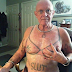 Wow... Grandpa Tattoos Bra And Slut On His Body